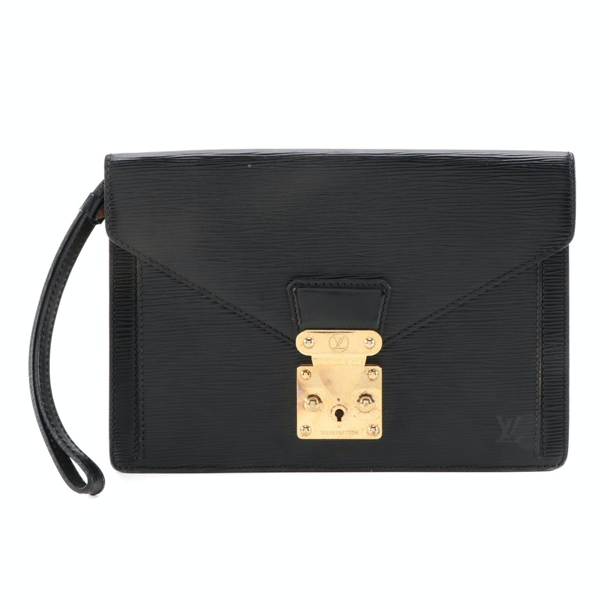 Louis Vuitton Sellier Dragonne Clutch in Black Epi and Smooth Leather