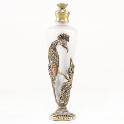 Rhinestone and Metal Mounted Frosted Glass Perfume Bottle