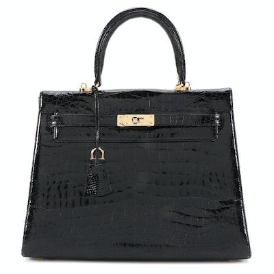 Eileen Kramer Black Crocodile Skin Handbag