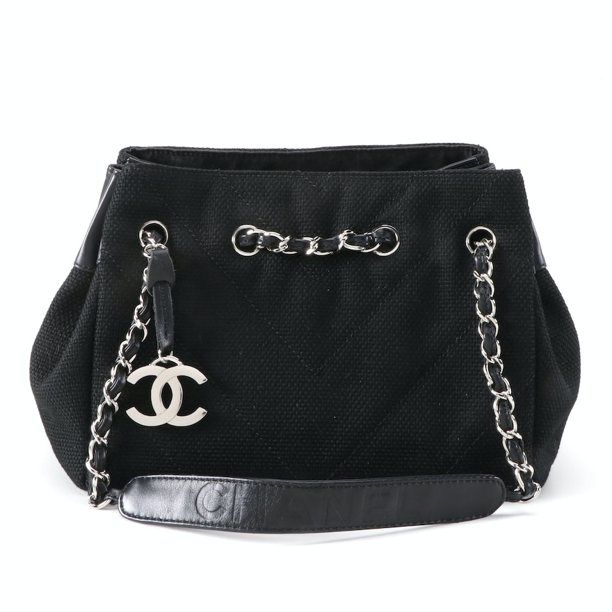 Chanel Black Chevron Quilted Textile and Leather Shoulder Bag