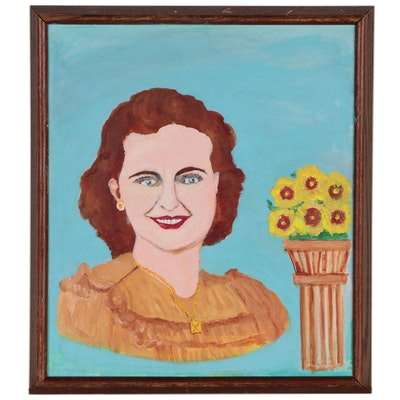 Linus E. Bailey Folk Portrait Oil Painting, Circa 1947