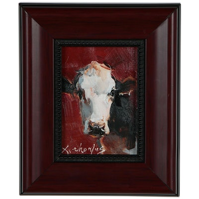 Thomas Xi Miniature Acrylic Cow Painting, 21st Century