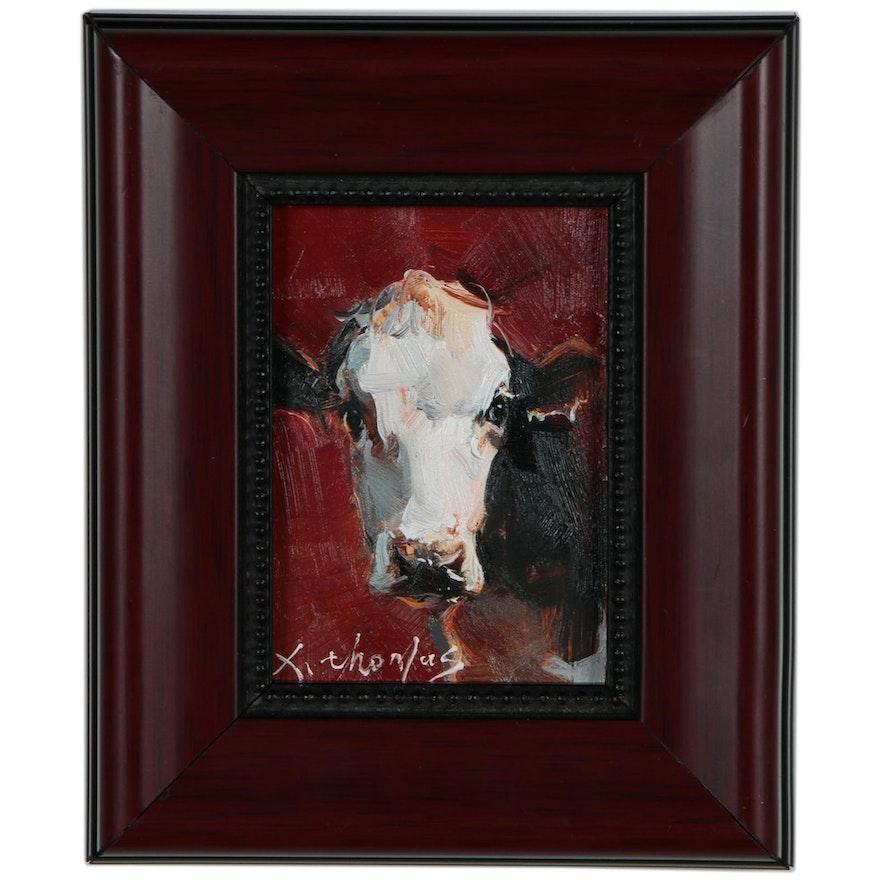 Thomas Xi Miniature Acrylic Cow Painting, 21st Century