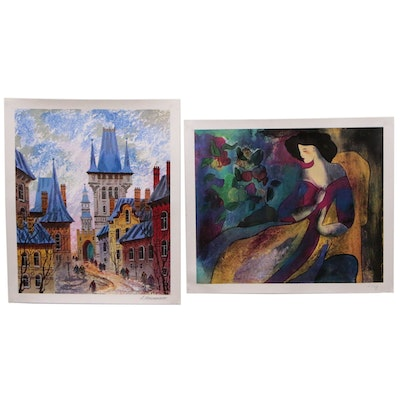 Pair of Decorative Offset Lithographs European City and Abstract Woman
