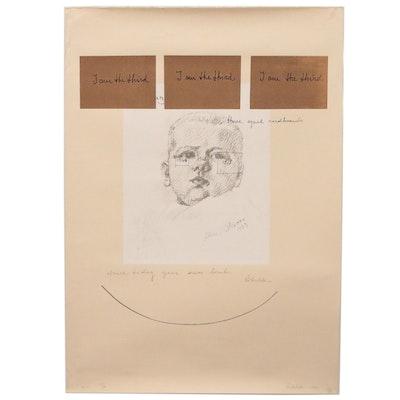 """Michelangelo Pistoletto Serigraph """"I am Third"""", 1980"""