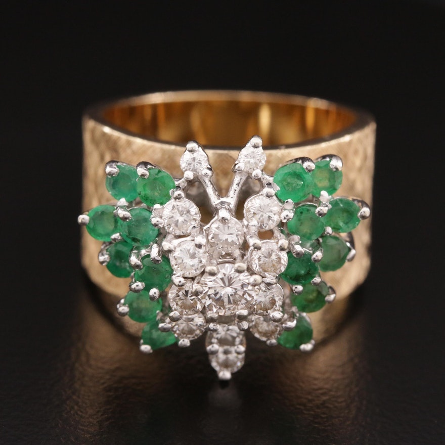 Vintage 14K Gold Florentine Emerald and Diamond Butterfly Motif Ring