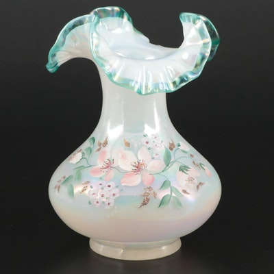 Fenton Opalescent Art Glass Vase with Ruffled Rim, Late 20th Century