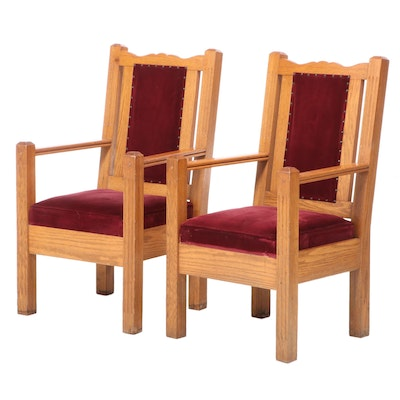 Pair of Oak Open Armchairs, Possibly Ecclesiastical, 20th Century