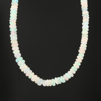 Beaded Opal Necklace with 14K Clasp
