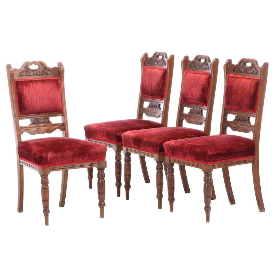 Four Gamlins Ltd. Edwardian Walnut Side Chairs, Early 20th Century