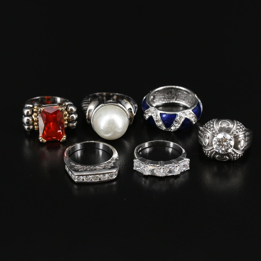 Ring Selection Featuring Sterling Silver, Imitation Pearl, and Rhinestones