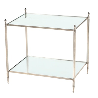 Chrome and Mirror Tiered Table