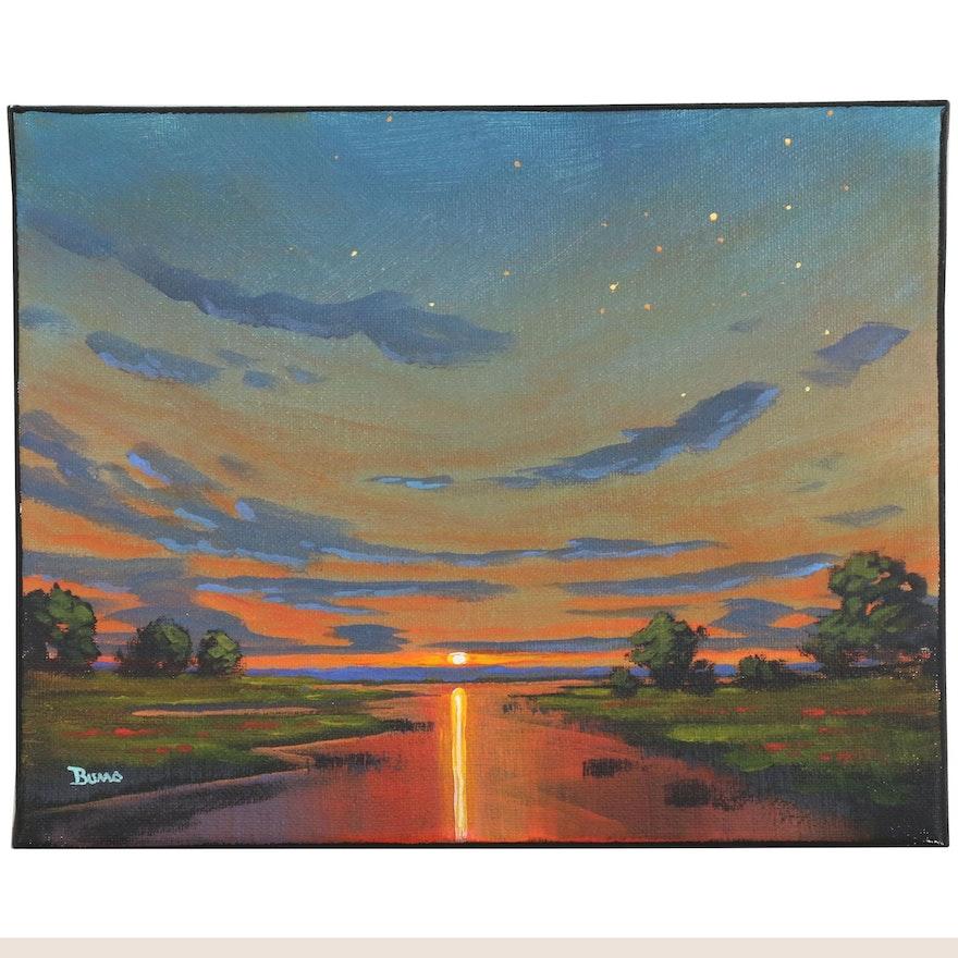 "Douglas ""Bumo"" Johnpeer Oil Painting ""Marsh Stars"", 2016"
