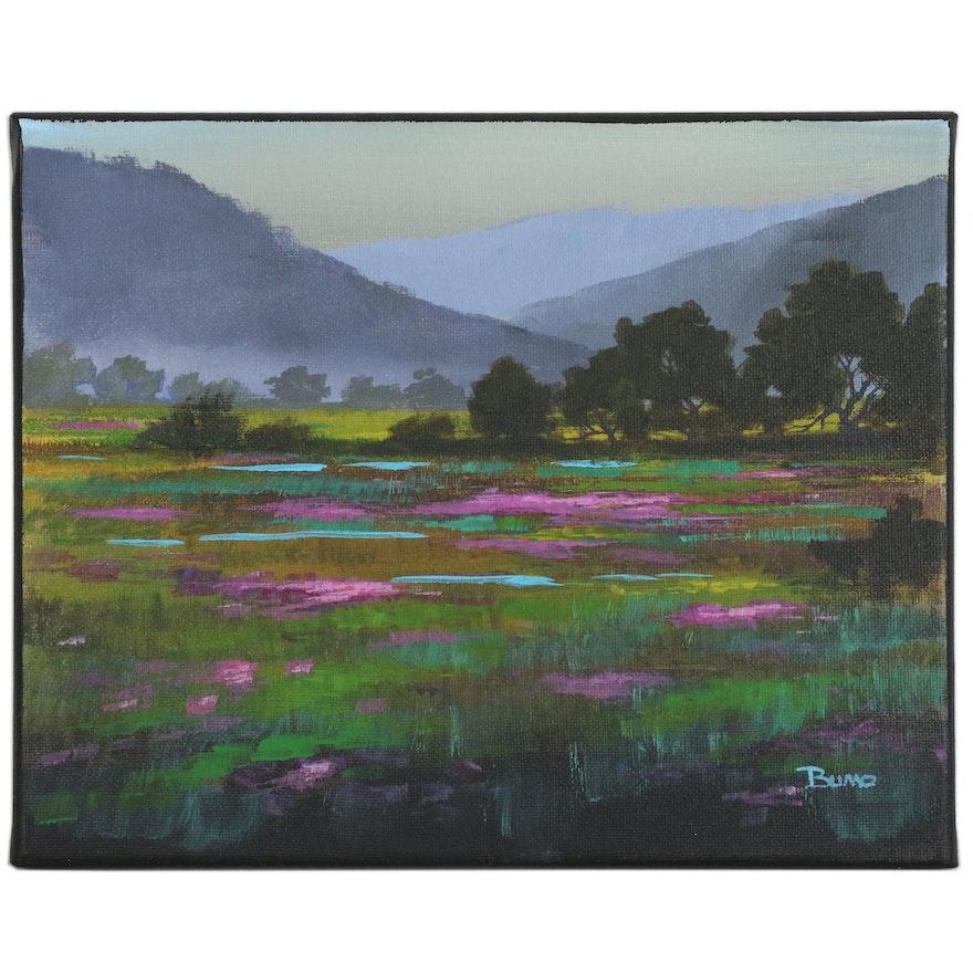"Douglas ""Bumo"" Johnpeer Oil Painting ""Field of Flowers"", 2016"