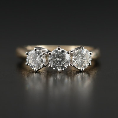 14K Gold 1.04 CTW Diamond Three Stone Ring