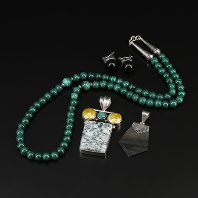 Sterling Silver Jewelry Including Tree Agate, Pearl and Marcasite