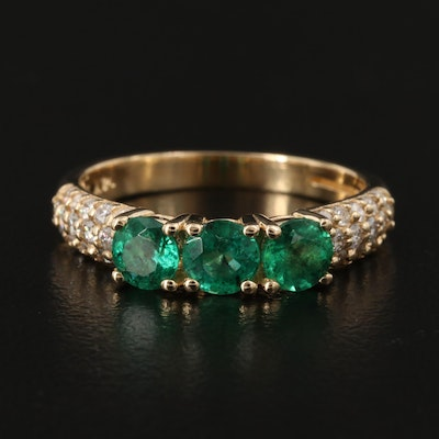 EFFY 14K Gold Emerald and Diamond Ring