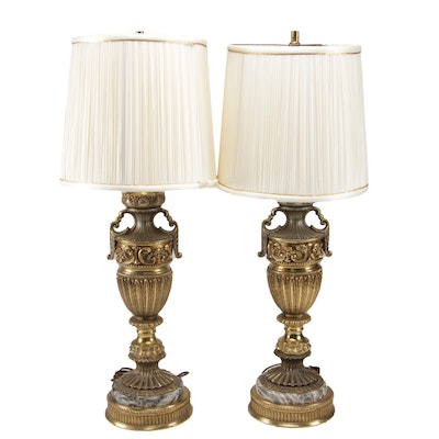 Pair of Hollywood Regency Metal and Stone Urn Table Lamps with Pleated Shades