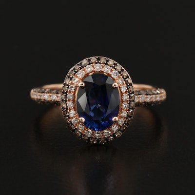 EFFY 14K Rose Gold Sapphire and Diamond Ring