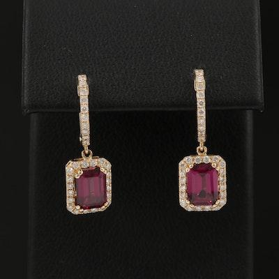 EFFY 14K Gold Rhodolite Garnet and Diamond Earrings