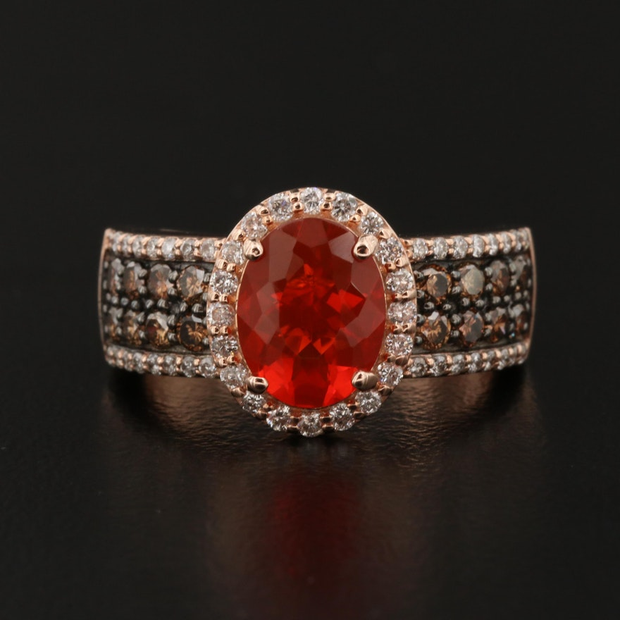 EFFY 14K Fire Opal and Diamond Ring
