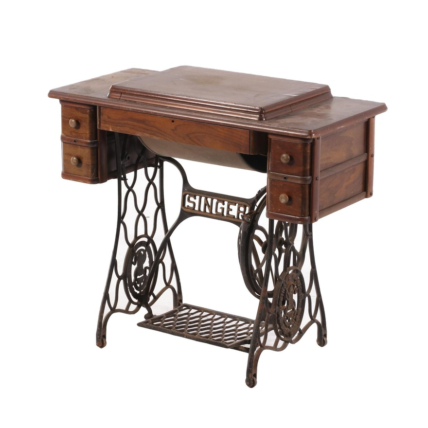 Singer Manufacturing Co. Mixed Wood and Cast Iron Sewing Machine Cabinet
