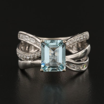 EFFY 14K Gold Aquamarine and Diamond Ring