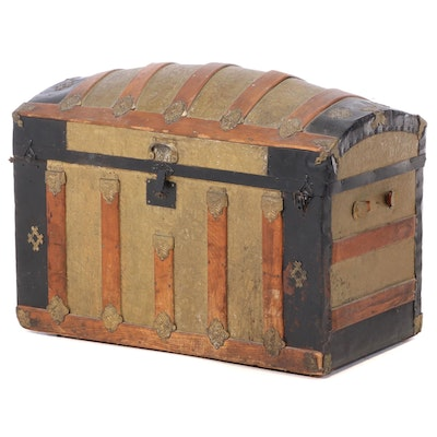 Late Victorian Dome-Top Steamer Trunk, Late 19th/Early 20th Century