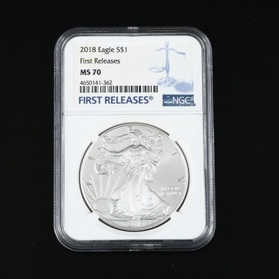 "NGC Graded MS70 ""First Releases"" 2018 $1 American Silver Eagle"