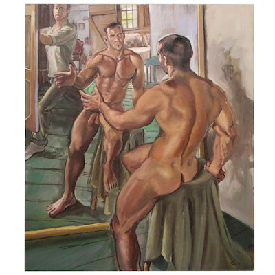 "Joseph Fanelli Monumental Oil Painting ""Matthew in the Mirror"""