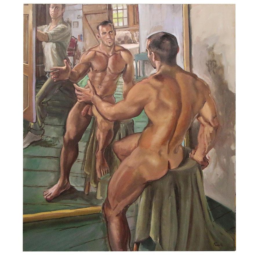 "Joseph Fanelli Monumental Oil Painting ""Matthew in the Mirror"""