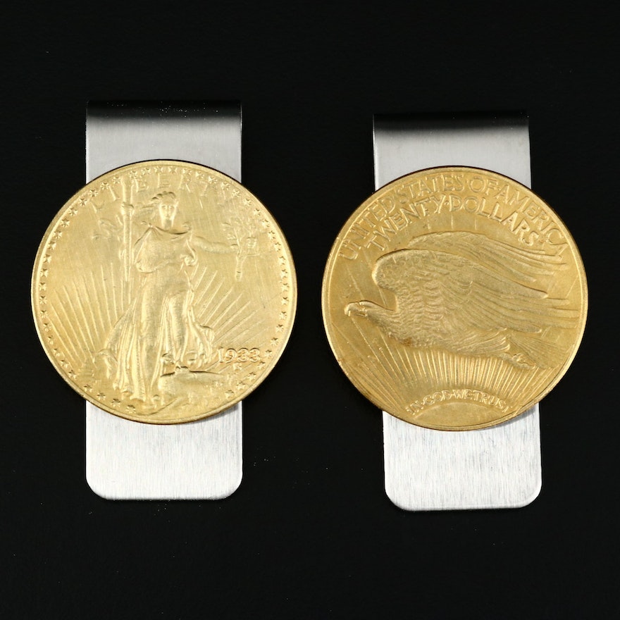 Pair of Reproduction St. Gaudens Gold Double Eagle Coin Money Clips