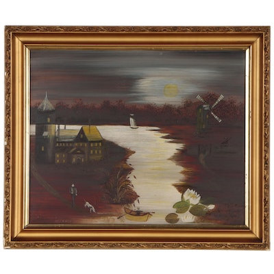 Emma Brahm Folk Art Oil Painting, 1910