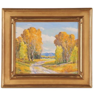 Autumnal Landscape Oil Painting, 20th Century