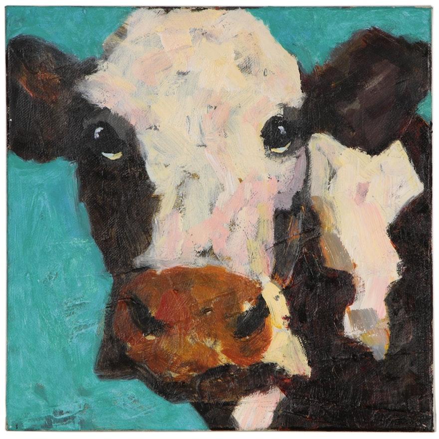 Elle Raines Acrylic Cow Painting, 21st Century
