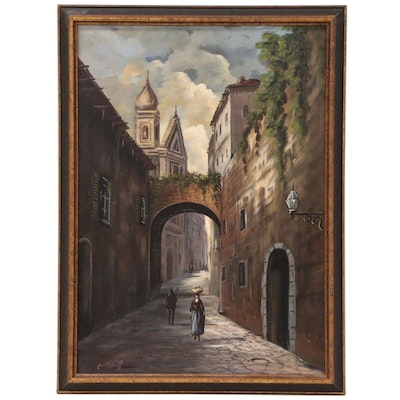 European Street Scene Oil Painting