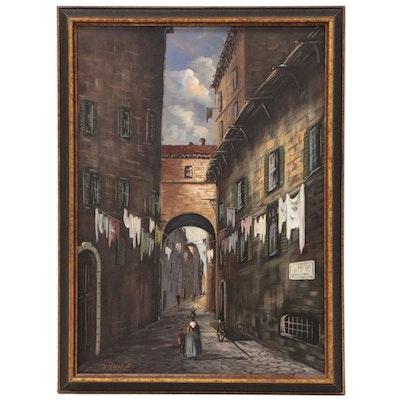 Italian Street Scene Oil Painting