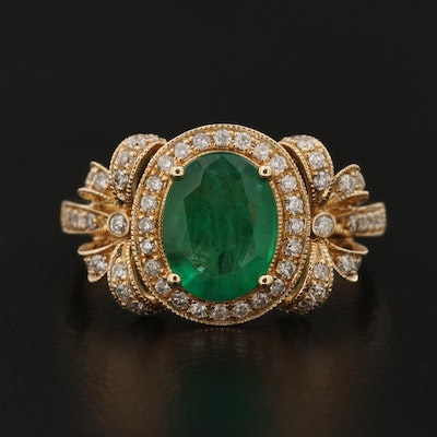 EFFY 14K Gold 1.50 CT Emerald and Diamond Ring
