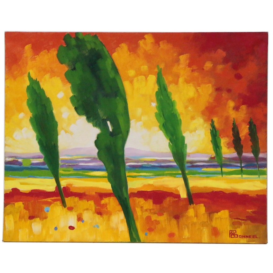 """Raymond Bonneel Abstract Landscape Oil Painting """"For the Owner"""", 1966"""