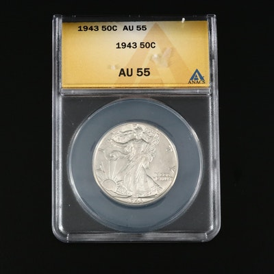 ANACS Graded AU55 1943 Walking Liberty Silver Half Dollar