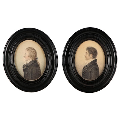 Miniature Portrait Watercolor Painting and Graphite Drawings, 19th Century