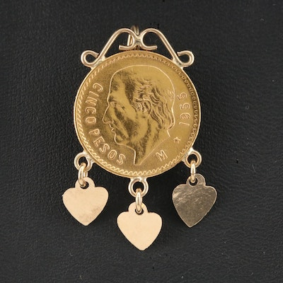 14K Single Earring with 1955 Mexico 5-Pesos Gold Coin