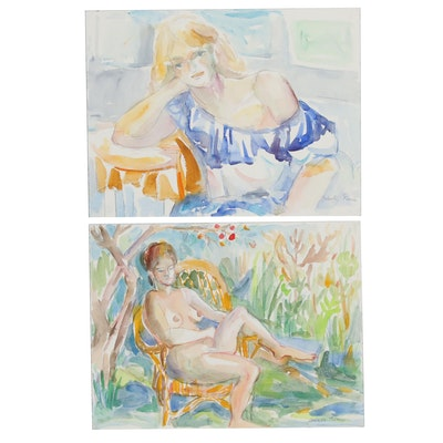 Yolanda Fusco Seated Female Portraits Watercolor Paintings, 20th Century