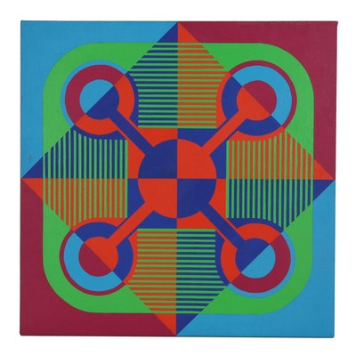 Geometric Abstract Op Art Arylic Painting