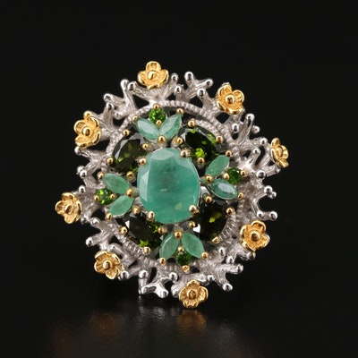 Sterling Silver Emerald and Diopside Floral Ring