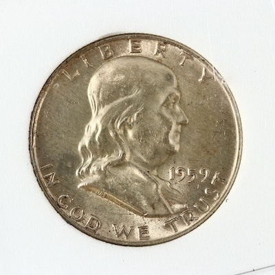 1959-D Uncirculated Franklin Silver Half Dollar