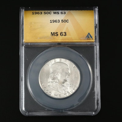 ANACS Graded MS63 1963 Franklin Silver Half Dollar