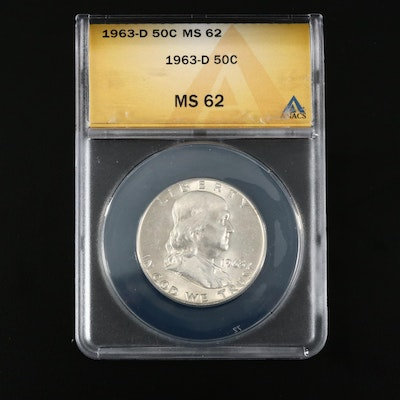 ANACS Graded MS62 1963-D Franklin Silver Half Dollar