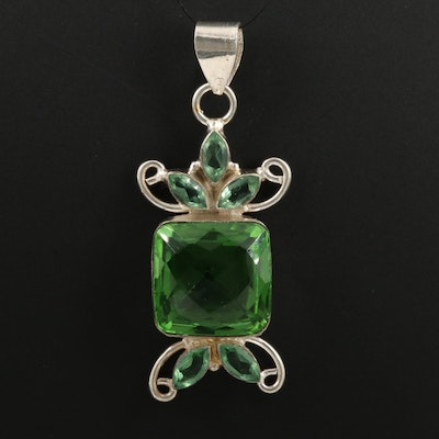 Sterling Silver Faceted Green Glass Pendant