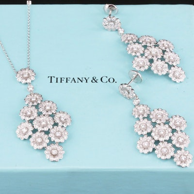 Tiffany & Co. Rose Collection Platinum, 5.58 CTW Diamond Necklace and Earrings